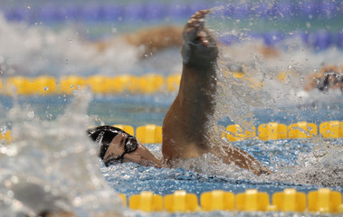 Bachrouche of Lebanon swims during the women's 200m freestyle final at the Arab Games in Doha