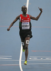 Kemboi of Kenya wins the men's 3000 metres steeplechase race during the IAAF World Athletics Championships in Moscow