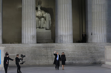U.S. President-elect Trump and wife Melania arrive at pre-inaugural rally at the Lincoln Memorial in Washington