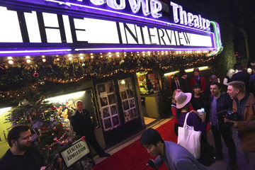 """Fans line up at the Silent Movie Theatre for a  midnight screening of """"The Interview"""" in Los Angeles, California"""
