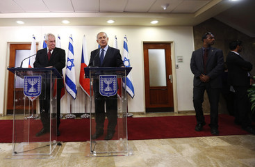 Czech Republic's President Zeman stands next to Israeli Prime Minister Netanyahu as they deliver joint statements in Jerusalem
