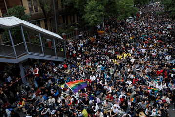 Thousand of supporters of same-sex marriage take part in a rally outside the Legislative Yuan in Taipei, Taiwan