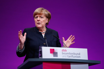 German Chancellor Merkel delivers a speech during the yearly DBB union meeting in Cologne