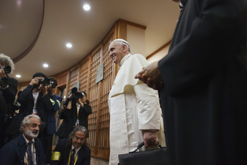 Pope Francis arrives to attend a meeting with Asian bishops at the Haemi Martyrs Shrine in Haemi