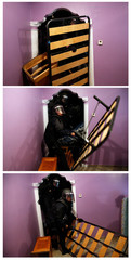Combination photo shows Spanish riot police entering the apartment of Montoya Vazquez past pieces of furniture after breaking down the entrance door to carry out her family's eviction in Madrid