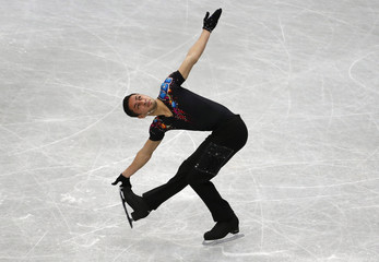France's Chafik Besseghier competes during the men's short program at the ISU World Figure Skating Championships in Saitama