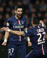 Paris St Germain's Pastore celebrates his goal against Metz with his team mate Lavezzi during their French Ligue 1 soccer match in Metz