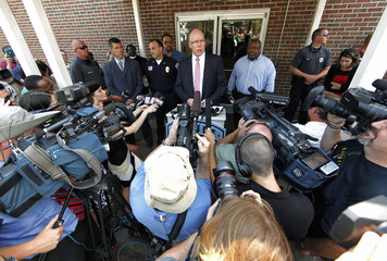 John Strong special agent in charge of the FBI in Charlotte, NC speaks to the media from the Shelby Police Station in Shelby, North Carolina