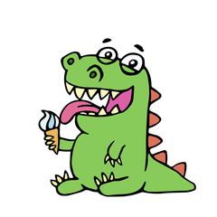 cute dinosaur eating ice cream. vector illustration