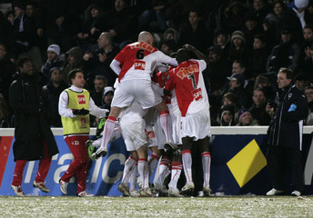 Monaco's players celebrate a goal during their French Cup soccer match against Girondins Bordeaux at the Chaban Delmas stadium in Bordeaux