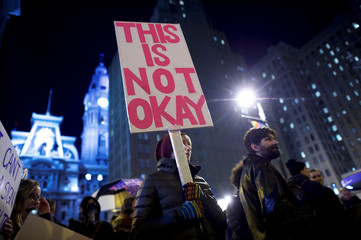 """Protesters demonstrate during the 2017 """"Congress of Tomorrow"""" Joint Republican Issues Conference in Philadelphia, Pennsylvania, U.S."""