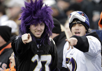 Baltimore Ravens' fans cheer for their team against the Cincinnati Bengals during the second half of play in their NFL football game at Paul Brown Stadium in Cincinnati