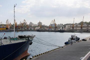 View shows sea port in Odessa