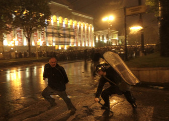 Police clash with protesters in Tbilisi