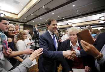 U.S. Republican presidential candidate Marco Rubio shakes hands with supporters following a campaign town hall at Barefoot Resort in North Myrtle Beach