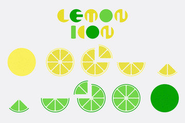 Icon set of lemon graphic design with circular shape.