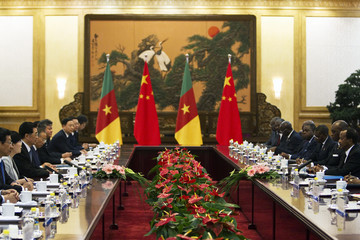 Chinese President Hu Jintao speaks with Cameroon's President Paul Biya during a meeting at the Great Hall of the People in Beijing