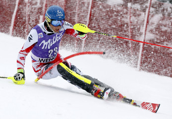 Raich of Austria competes during first run of men's Alpine Skiing World Cup slalom in Wengen