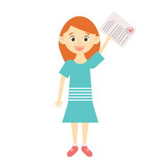Happy girl holding paper with A mark