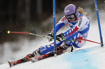 Worley of France clears a gate during the women's giant slalom World Cup race in Kranjska Gora