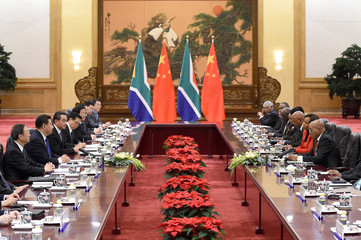 South African President Jacob Zuma meets with Chinese President Xi Jinping at the Great Hall of the People in Beijing