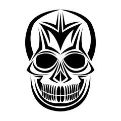 skull tribal tattoo bohemian decoration image vector illustration