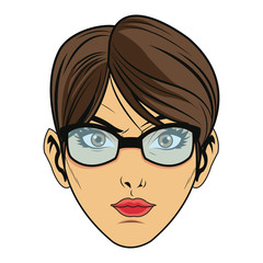 beauty face woman with glasses and short hair comic style vector illustration