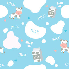 Cute seamless pattern on blue background decorated with little cows milk box and splash design for world milk day.