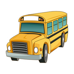 school bus transport truck vehicle cartoon vector illustration