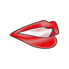 lips female mouth cartoon image icon vector illustration
