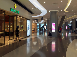 A view of a shopping mall in Sanya on Hainan Island