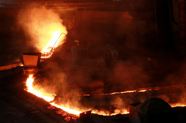 A man works at Hoa Phat steel mill in Hai Duong province, Vietnam