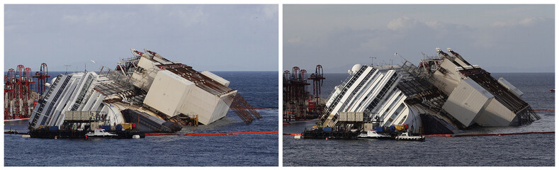 """The capsized cruise liner Costa Concordia is shown in this combination picture taken during the """"parbuckling"""" operation outside Giglio harbour"""