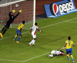 Aubameyang of Gabon scores a goal against Burkina Faso during the 2015 African Cup of Nations soccer tournament Group A at Bata Stadium, in Bata