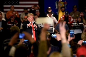 Republican U.S. presidential candidate Trump speaks at a town hall event in Appleton
