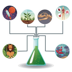 conceptual map connected of color circular icons with picture world evolution to glass beaker with formula vector illustration