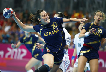 Spain's Macarena Aguilar Diaz shoots on goal of South Korea during their women's bronze medal match at the Basketball Arena during the London 2012 Olympic Games