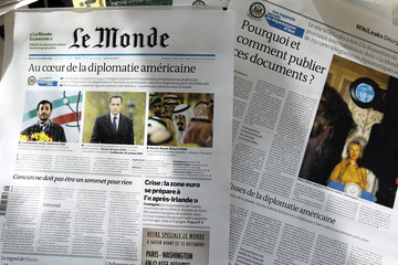 View of the November 30, 2010 edition of the daily Le Monde displayed in the Le Monde office in Paris