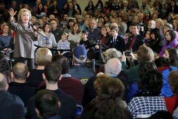 U.S. Democratic presidential candidate Hillary Clinton speaks at a campaign town hall meeting in Derry