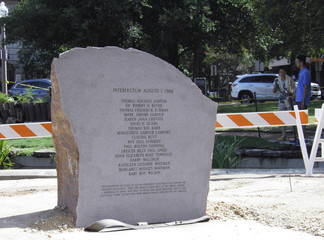 A stone memorial to the 16 people and one fetus who died in the August 1, 1966 mass shooting at the University of Texas in Austin