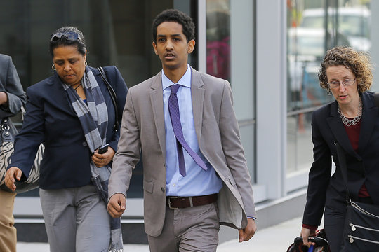 A friend of accused Boston Marathon bomber Tsarnaev arrives for a hearing in his case at the federal courthouse in Boston