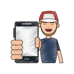 Cartoon man profile icon vector illustration graphic design sketch