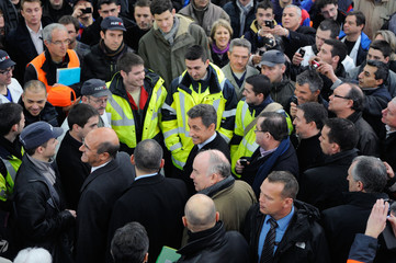 France's President and candidate for the 2012 French presidential elections Nicolas Sarkozy visits the Alstom factory in Aytre