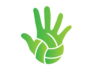 Modern Volleyball Logo - Green Hand Palm And Volleyball Ball Symbol