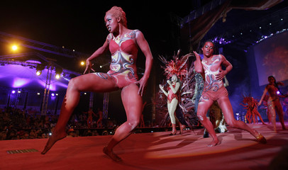 Dancers perform on stage during the opening ceremony of the 20th Life Ball in Vienna