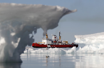 The Canadian Coast Guard icebreaker Henry Larsen is pictured in Allen Bay in Resolute
