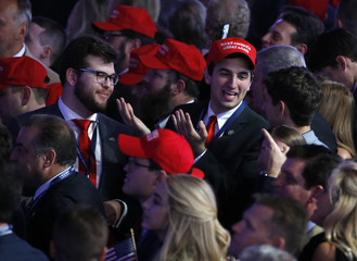 Trump supporters celebrate as election returs come in at Republican U.S. presidential nominee Donald Trump's election night rally in New York