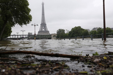 View of the flooded river-side of the River Seine near the Eiffel tower in Paris after days of almost non-stop rain caused flooding in the country