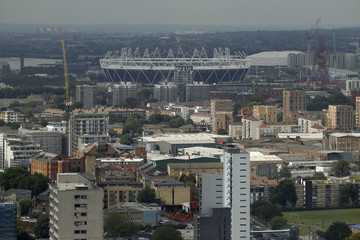 A general view shows the London 2012 Olympic Games stadium in east London