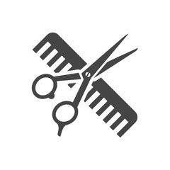 Comb and scissors icon vector - Illustration